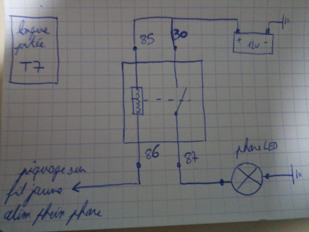 schema de branchement du phare additionnel couplé à la commande de phare sur la ténéré 700